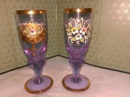 ガラスが続きます、紫が高貴な感じ外国製のリキュールグラス