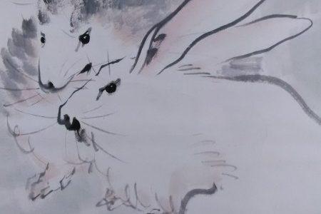 ちょっと一息心を穏やかに…掛け軸ウサギの絵