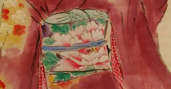 帯の牡丹に着物の梅、カジュアルを感じる女性の掛軸