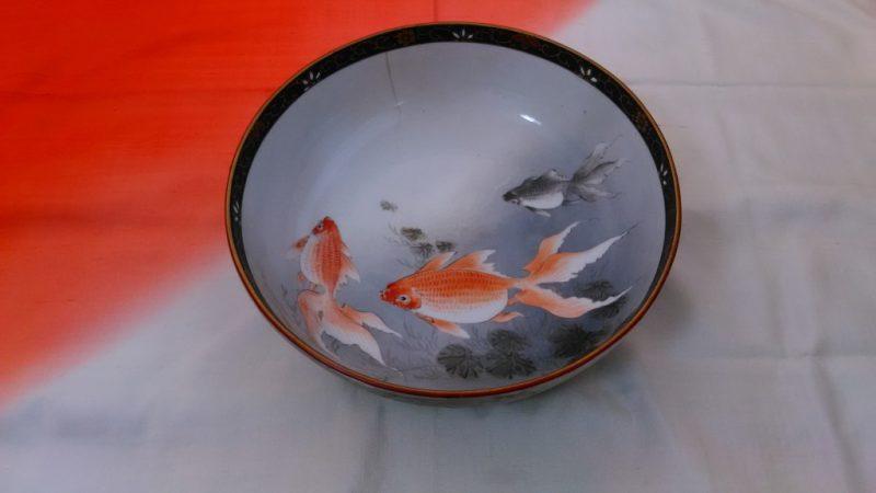 大正九谷金魚大鉢