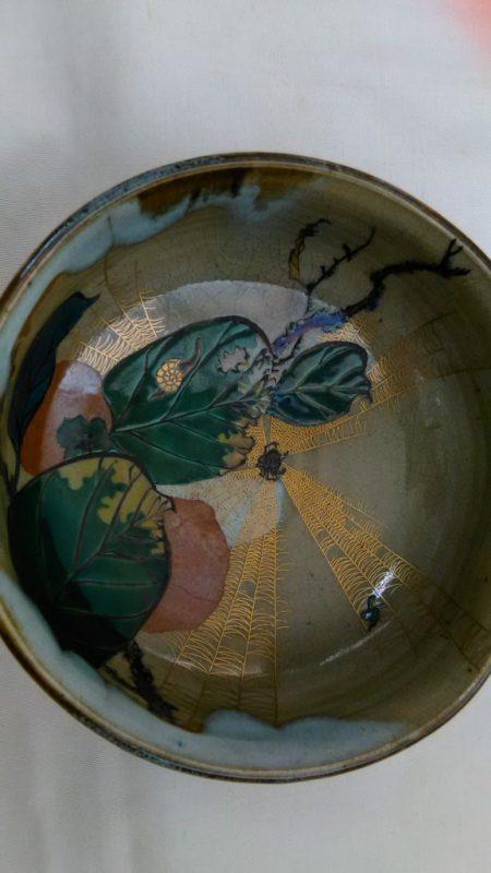 九谷焼小鉢面白い絵柿虫蝸牛
