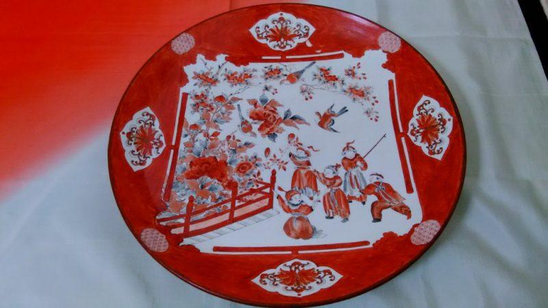 九谷焼赤絵大皿1