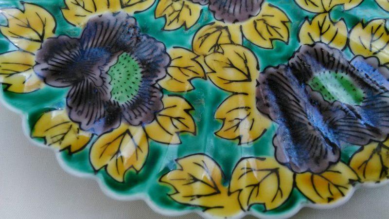 青手九谷輪花の6寸皿