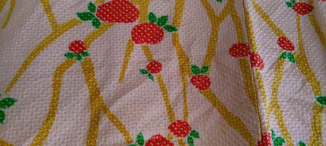 絞りの羽織、苺の柄