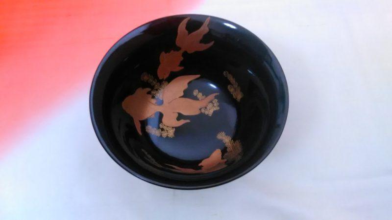 金魚の蒔絵の杯洗