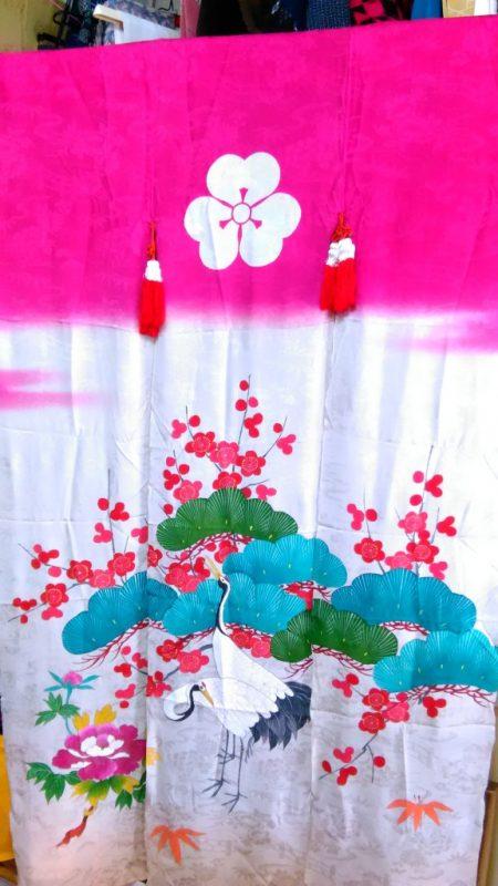 ピンクの可愛い花嫁のれん