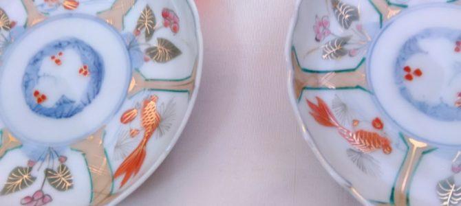すみれ、金魚で爽やかに…結構薄手の小皿