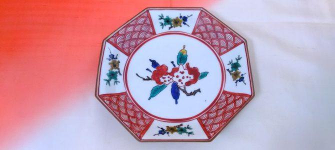 九谷焼、青吉の八角形の飾り皿