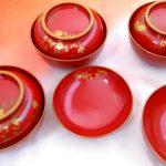 赤の蒔絵の菓子椀