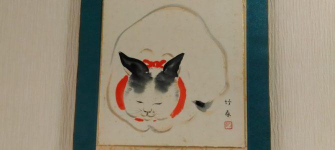 ふっくら丸く猫の色紙