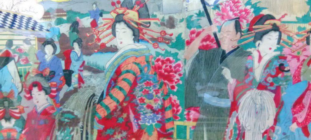 花魁華やか、春爛漫で桜に牡丹…明治の版画